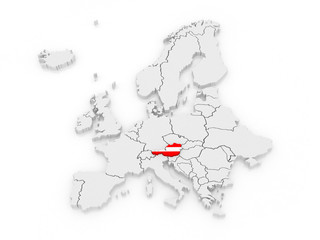 Map of Europe and Austria.