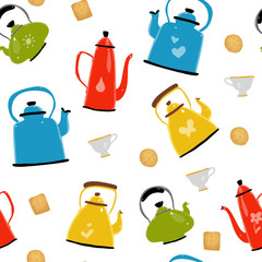 Colorful pattern with different teapots