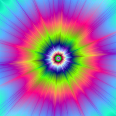 Explosion in Blue Green and Pink