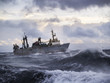 Fishing ship in strong storm. - 64243906