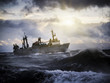 Fishing ship in strong storm. - 64243907