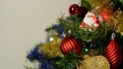 Part of decorated Christmas Tree - white background