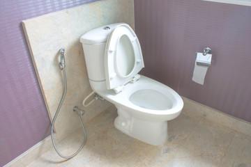 flush toilet white in bathroom.