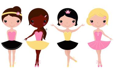 Little beautiful ballerina girls isolated on white