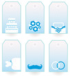 Retro wedding tags set isolated on white ( blue )