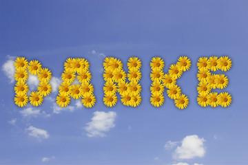 Danke in Blumenschrift