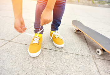 skateboarding woman at city