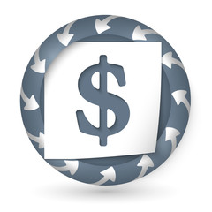 vector abstract icon with arrows and dollar sign