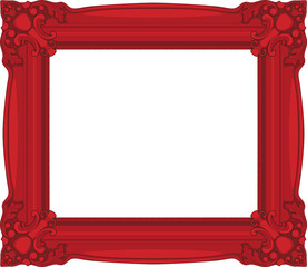 Red baroque Frame isolated on white background.