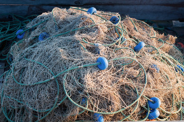 fishing nets stacked