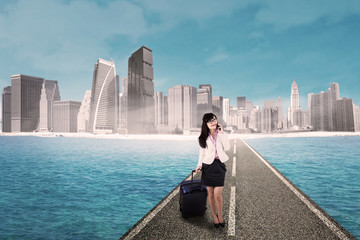 Businesswoman and modern city