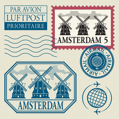 Stamps set with word Amsterdam inside, vector