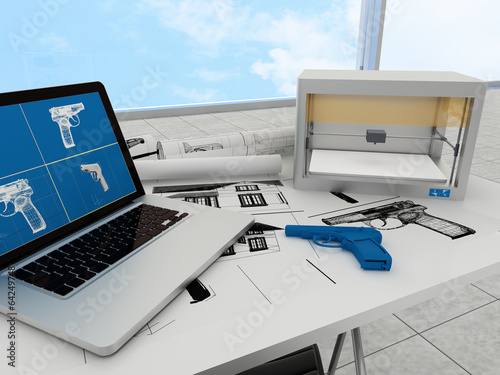 Leinwanddruck Bild 3d printing technology, printing gun