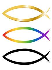 Sammlung verschieden farbiger christlicher Fisch-Symbole