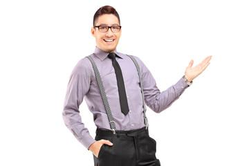 Stylish smiling male posing