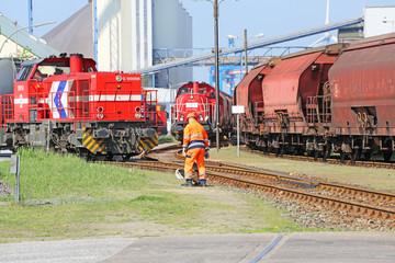 Güterbahn im Hafen