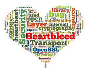 Heartbleed concept with tag cloud forming the heart shape on whi