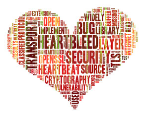 Heartbleed concept with tag cloud forming the heart shape with b