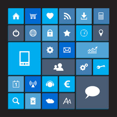 Set of blue metro icons