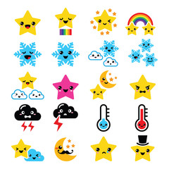 Cute weather kawaii icons -star, rainbow, moon, snowflake