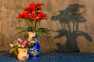 Still Life - Flower Plastic in vase With Shadow