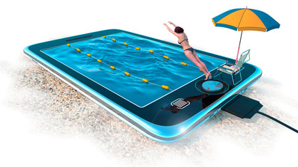 Digital tablet as water pool  communication concept