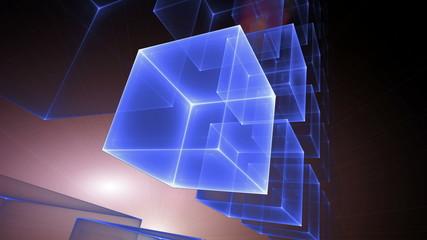 Blue Cubic Perspective With Rays Of Light, seamless loop