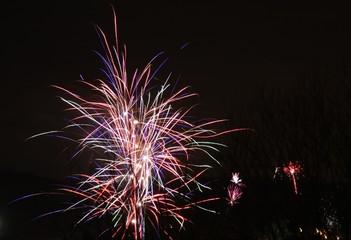 Fireworks against a black night sky