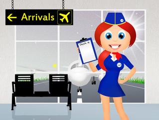 stewardess in airport