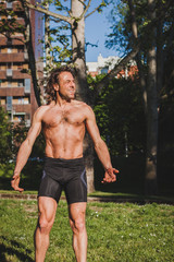 Long haired athlete getting ready for running