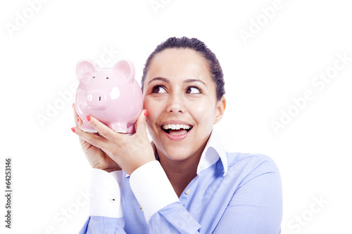 Happy business woman with piggy bank, isolated on white