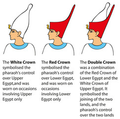 Vector illustration. Crown worn by pharaohs different kingdoms