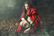 Little red riding hood waiting the prey