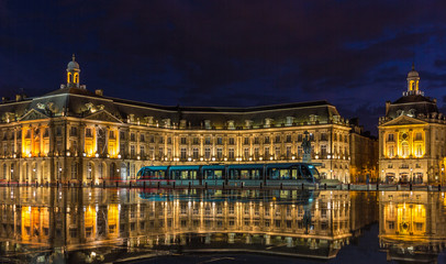 Tram on Place de la Bourse in Bordeaux - France