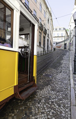 Ancient and old tram of Lisbon
