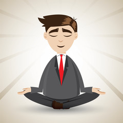 cartoon businessman relaxing with meditation