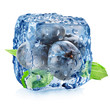 Ice cube with blueberries