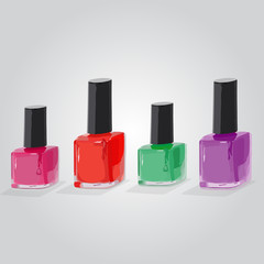 Nail manicure with colored bottle background
