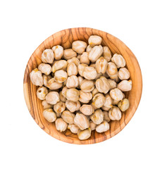 Chickpeas in a wooden bowl