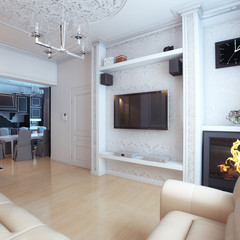 Living And Dining Room Interior Design With Fireplace