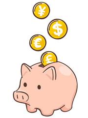 豚の貯金箱と国際通貨