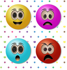 emoticons with candy color and background