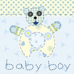 baby boy blue patchwork with teddy bear