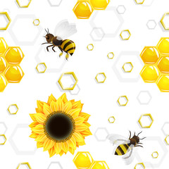 Sunflowers and bees over honeycombs pattern