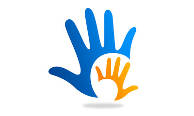 two hands logo and icon