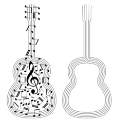 abstract black silhouettes of spanish guitar on white