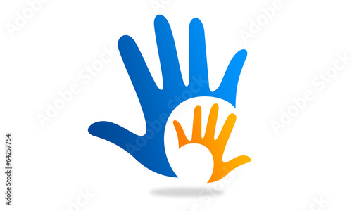 canvas print picture two hands logo and icon