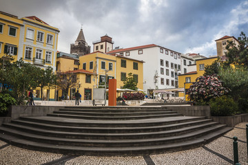 The old historic town center of Funchal, Madeira island.
