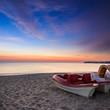 calm sea beach with boats