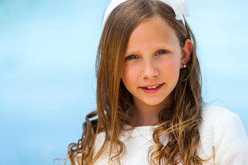 Close up face shot of communion girl.